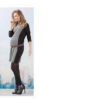 Vestido Curto E Manga Bicolor Gestante Grávida Emma Fiorezi