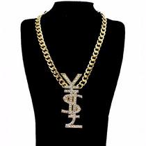 Collar Dorado Hip Hop Bling Bling Yen Libra Peso Cristales
