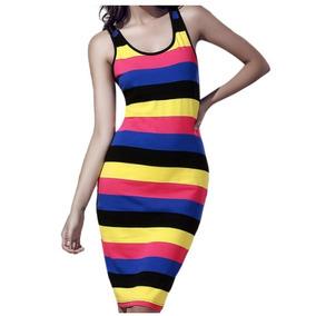 Vestido Tubinho Midi Longuete Listras Coloridas. Tam. U