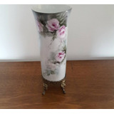 Antigo Vaso Em Porcelana Pintado A Mão C/ Pedestal Em Bronze