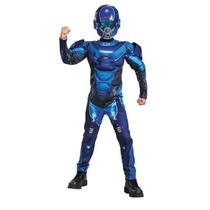 Disfraz Halo Azul Spartan Niño Traje Con Musculos