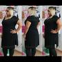 Plus Size Long Tshirt Maxi Tee Dress Tamanho Especial Preta