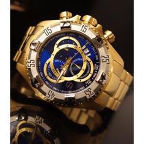 Relógio Masculino Dourado Aço Na Caixa Amarela | Original