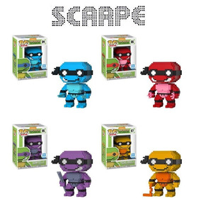 Funko Pop 8-bit Set Neon Michelan Raphael Leonardo Donatello
