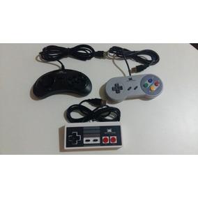 Kit 3 Controles Usb Mega Drive / Super Nintendo /nintendinho