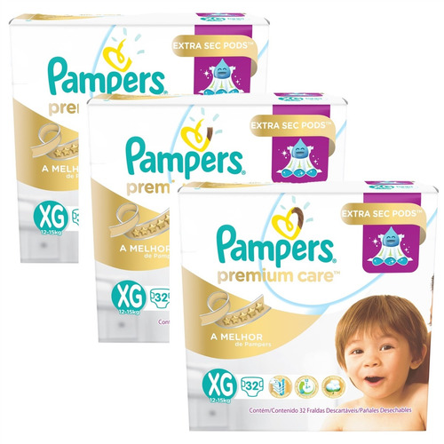 Kit Fralda Pampers Premium Care Xg 96 Unidades
