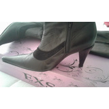 Botas Largas Con Taco, Color Negro, Marca Exs Shoes N° 38