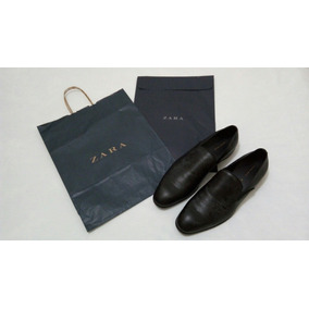 Sapato Casual Zara Man Preto Tamanho 43 Couro Novo Sacola