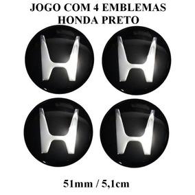 Jogo De Emblema Resinado Honda Preto 51mm P/calota Roda