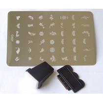 Placa Para Unha Adesivo Com Carimbo 42 Desenhos - Ck07