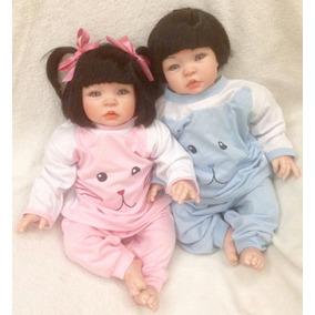 2 Bonecas Bebês Realistas Reborn Molde Nacional Gêmeos