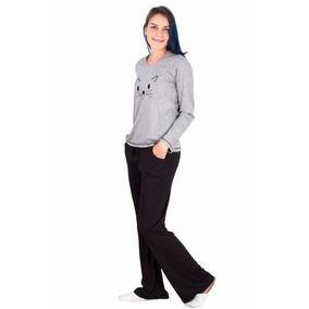 Pijama Longo Feminino Inverno Frio Malha Com Calça Flare