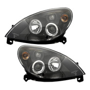 Farol Citroen Xsara 2001 A 2004 Angel Eyes Led Máscara Negra