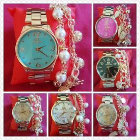 Exclusivo Kit C/5 Relógios Feminino Dourado+pulseira Atacado