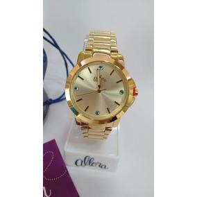 Relógio Feminino Dourado Allora Com Kit Semi Jóias
