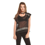 Blusa Shiffon Negra Franjas Plateadas Saints Clothes