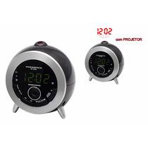 Rádio Relógio Fm Powerpack Rf-233 Com Projetor Alarme Novo!