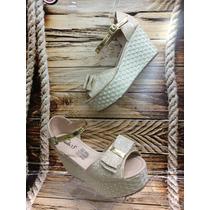 Sandalia Plataforma Bajita Dorado Mujer Fabricantes Calzado