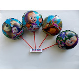 Balão Metalizado Masha E O Urso 4 Opções - Kit 12 Balões