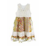 Vestido De Nena Estampado, Floreado Broderie, Brishka N-0088