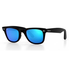Anteojos Sol Ray Ban Rb2140 Wayfarer Negro Azul Espejados