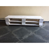 Rack De Pallet Palete Branco Rústico C/ Rodinhas