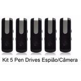 Kit 5 Pen Drives Espião Câmera Espiã Gravador + Memória16 Gb