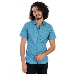 Camisas Hombre Slim Fit Casual Manga Corta Cielo