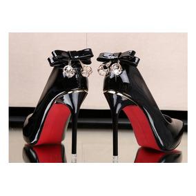 Sapato Scarpin Importado Salto Alto Sola Vermelha Festa