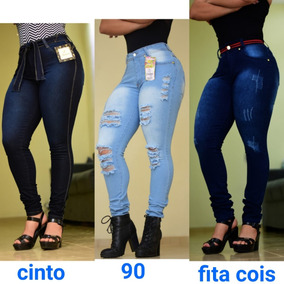 Kit 3 Calça Jeans Feminina 2,5% Laycra Cintura Alta