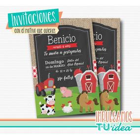 Cumple Animales De La Granja, Invitación Animales Granja