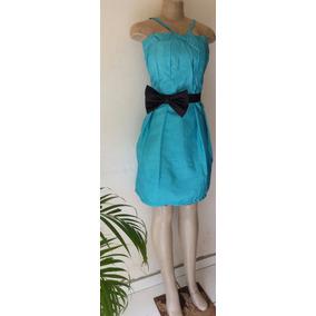 Vestido Tafeta Azul. Tamanho P. Forro E Bojo.