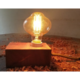 Velador Madera Vintage Lampara Edison