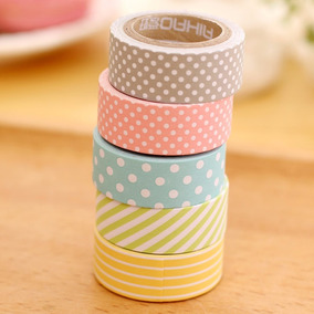 5 Rolos De Fita Adesiva Washi Tape Scrapbook 15mm X 5m