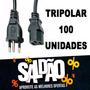 100 Unidades - Cabo Força Tripolar P/ Cpu,impressora E Fonte