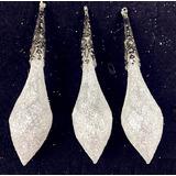Adorno Arbol Esferas Nieve Acrílico 10cm Navidad Set 6pzas