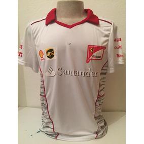 Camiseta Camisa Ferrari Santander Gola V Masculina Branca