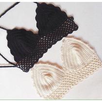 Crop Top Tejido Crochet En Algodon Marca A Tejer
