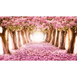 Cerejeira Japonesa Jardim Rosa Painel 3,00x1,70m Lona Festa
