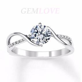 Anillo De Compromiso En Oro Blanco 14k Bello Diamante 35pts