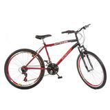Bicicleta Bike Mtb Aro 26 Grip 21 Marchas Vermelha Trilhas