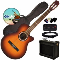 Guitarra Electro Criolla Acustica Corte Ampli Funda Cable
