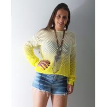 Blusa Maxi Biamar Malha Tricot Decote Canoa Amarelo Degradê