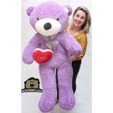 Urso Pelúcia Lilás Presente Top Natal Crianças 1,40 Mt 140cm