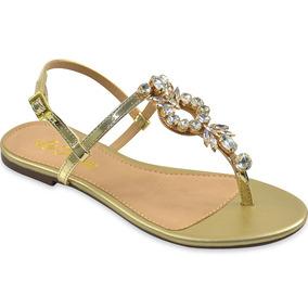 Sandália La Femme Specchio Ouro/calf Branco Cristais Louro