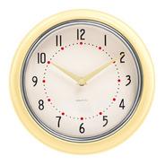 Reloj De Pared Amarillo Retro Marco Metal