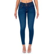 Jeans Dama Corte Colombiano Mezclilla Stretch Azul Alforzas