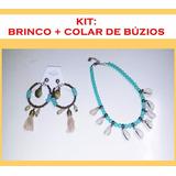 Kit: Brinco + Colar De Búzios Coleira Gargantilha Choker