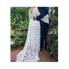 Vestido Noiva Renda Guipir Sereia Tomara Caia E Cauda