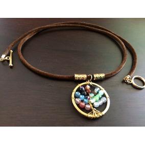 Collar Oro Árbol D La Vida Ágata Alinea 7 Chakras,equilibrio